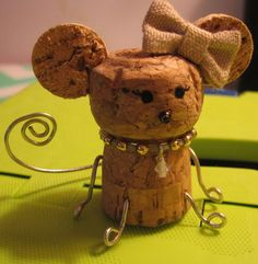 Handmade Ms. Mouse Cork Figurine w/ Metal Legs/Tail, Burlap Bow & Bead Necklace #Handmade