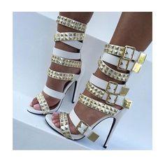 Nelly Bernal Navaeh White Buckled Heels Nelly Bernal Shoes Heels