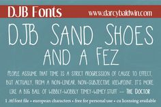 DJB Sand Shoes and a Fez - an homage to Doctor Who. Free for personal use, CU licensing available - from DJB Fonts. #djbfonts  #doctorwho--- FANGIRL SQUEAL!!!!