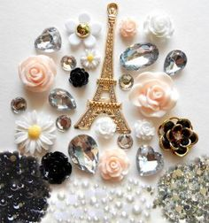 DIY 3D Eiffel Tower Bling Cell Phone Case Resin Flat back Kawaii Cabochons Deco Kit / Set -- lovekitty,$17.99