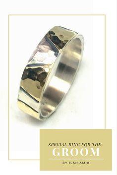 Groom Ring, Wedding Ring, Men's Band, Stunning men's wedding band, sterling silver wedding band with geometric gold sheets soldered on top, unisex wedding ring,Ilan Amir