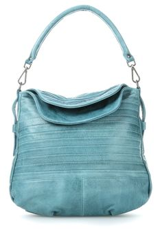 wardow.com - #FredsBruder, Vanilla Stripes Beuteltasche Leder aqua 33 cm #bag #wardow #blue