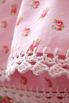 pink pillowcase with crochet trim. Our  grandmother and mom use to do this on towels.