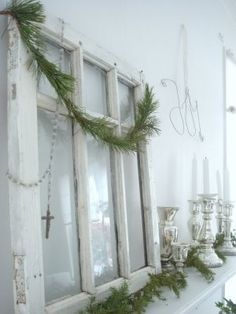 An old window above the fireplace