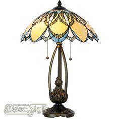 Tiffany Tafellamp Xidori  Een bijzonder mooie tafellamp. Helemaal met de hand gemaakt van echt Tiffanyglas. Dit originele glas zorgt voor de warme uitstraling. De voet is vervaardigd van brons. Met 2x grote fitting (E27). Met schakelaar aan de kap. Afmetingen: Hoogte: 60 cm Diameter Kap: 40 cm