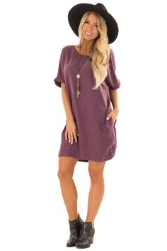 Eggplant Loose Dress with Cuffed Sleeves and Pockets front full body Cute Boutiques, Fabulous Dresses, Cuff Sleeves, Boutique Dresses, Eggplant, Full Body, Pockets, Shirt Dress, My Style