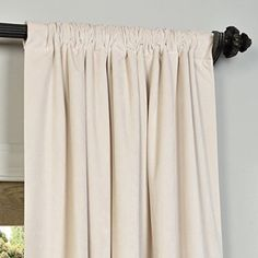 Exclusive Fabrics Signature Off White Velvet Blackout Curtain Panel 108L Beige Size 50 X 108 Polyester Solid