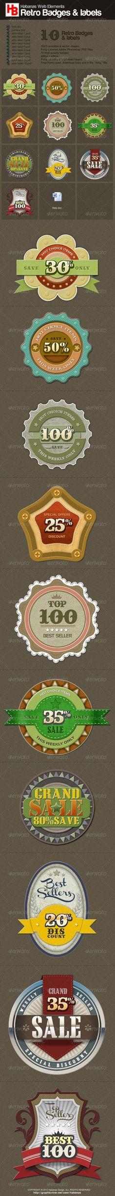 GraphicRiver 10 Retro Badges 1890485