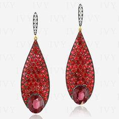 Red Spinels, Rhodolite's and Diamonds in IVY gold earrings. Ruby Earrings, Teardrop Earrings, Gemstone Earrings, Diamond Earrings, I Love Jewelry, Fine Jewelry, Jewelry Design, Lotus Jewelry, Jewellery