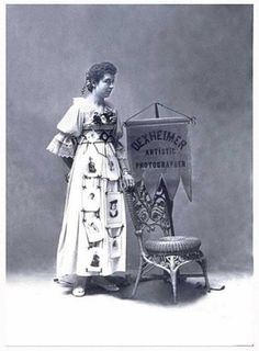 Banner Women Advertising card c.1900  Photographer