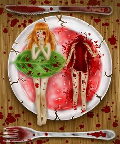 Vore/Cannibalism by Saccstry on DeviantArt Scary Art, Weird Art, Creepypasta, Yandere, Illustrations, Illustration Art, Creepy Cute, Creepy Stuff, Random Stuff