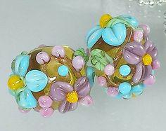 Handmade lampwork beads -- G a r d e n   L o v e Fabienne  -- SRA -- flowers -- floral -- earring pair -- made by Silke Buechler-calpsobeads on etsy