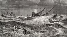 An illustration of ships caught up in the Great Storm of 1703 (Credit: Alan King/Alamy)