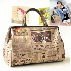 Womens Travel Shopping Bag Newspapers print Briefcase Shoulder Bag aaa2492383030