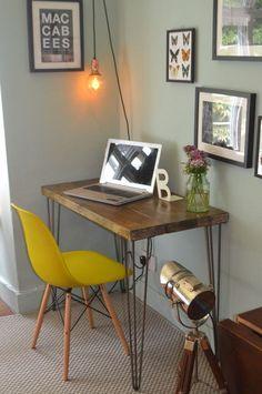 Industrial Desk & Chair Mid Century Modern Style hairpin leg table Skandi