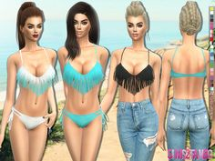 The Sims Resource: 192 - Fringed swimwear top 3d by sims2fanbg • Sims 4 Downloads