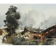 Chien Chung Wei, Plein air in  Miao Village 苗寨寫生 27 x 37cm, 2014