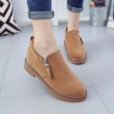 Female Fashion Slip On Low Heel Sewing Flock Platform Ankle Boots