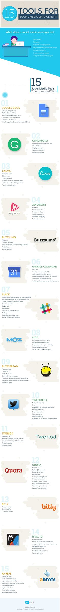 15 Top Tools for Social Media Managers to Save Time - #Infographic
