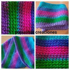 Bufanda circular arcoiris crochet