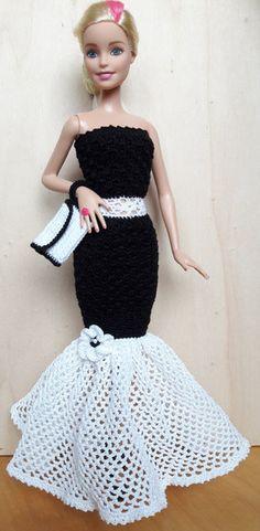 Puppenkleidung - Barbie/Steffi Kleid (gehäkelt), schwarz/weiß - ein Designerstück von Anna-Tim bei DaWanda