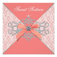 Coral Diamonds Coral Sweet 16 Birthday Party Custom Invitation. EXCEPT WITH REALLY GOOD PIC INSIDE