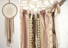 All Natural colored Beige Doily Dreamcatcher