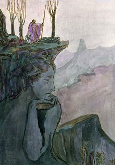 Pamela Coleman Smith was best known for her paintings for the Rider Waite Tarot deck but I favor the work she did as an intuitive artist.  She often went to concerts with her sketch book and would sketch images that emerged for her from the music.  Google Image Result for http://americanart.si.edu/images/1984/1984.24_1a.jpg: