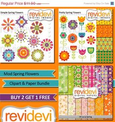 80% OFF SALE Clipart and Paper Bundle.. Mod Spring by revidevi