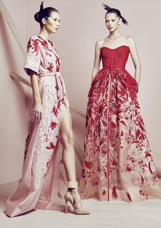 From the left a Fully embroidered Silk Tulle Kimono & on the Right a Strapless ball gown fully embroidered