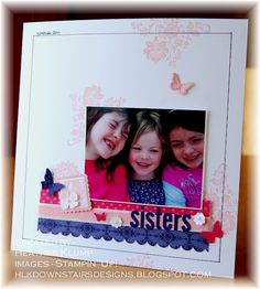 Stampin' Up! Fresh Vintage & Beautiful Wings scrapbook page. Lovely simple layout. Could also be made with a more colourful background.
