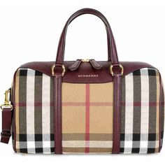 Burberry The Medium Alchester House Check Leather Satchel - Mahogany ($849) ❤ liked on Polyvore featuring bags, handbags, leather handbags, tote purses, tote handbags, burberry handbags and burberry tote bag
