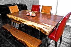 Live edge black walnut table with steel legs  https://www.etsy.com/listing/158368487/stunning-live-edge-black-walnut-tables