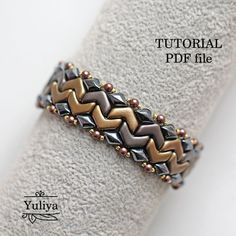 Pattern beaded bracelet, Easy Chevron Duo bead pattern, Beadweaving bracelet, Jewelry making beading tutorial bracelet Business Casual pdf – Seed Bead Tutorials Beaded Necklace Patterns, Beaded Bracelets Tutorial, Seed Bead Bracelets, Gold Bracelets, Gold Earrings, Seed Beads, Peyote Bracelet, Diy Bracelet, Unique Earrings