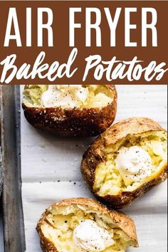 Learn how to make Air Fryer Baked Potatoes with crispy skins! They cook up easily in your air fryer with perfect, crispy & salty skins. Crispy Baked Potatoes, Air Fryer Baked Potato, Making Baked Potatoes, Potatoes In Oven, Baked Potato Recipes, Oven Baked Potato, Air Frying, Side Dish Recipes, Side Dishes