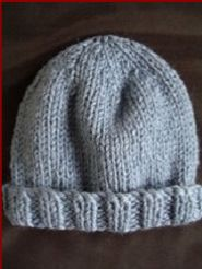 FREE knitting pattern - childs 12ply beanie with rib brim, ages 2 to 8.