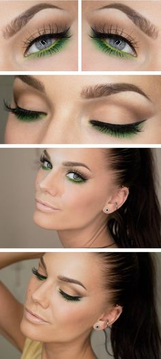 Be bold and try emerald eyes this weekend! Neutral eye with emerald green underneath #greeneyeshadows