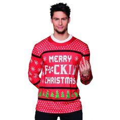 Kersttrui shirt met lange mouwen met een fotoprint aan beide zijden van o.a. sneeuwvlokken en de tekst merry f*cking christmas. Materiaal: 100% polyester.