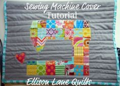 Quilted sewing machine cover tutorial and free pattern. Brighten your sewing space with this appliqued sewing machine patterned cover.