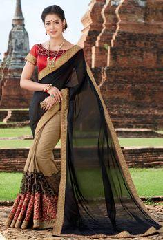 #Black, #Beige Georgette, #Art #Silk #Half N Half #Saree #nikvik #usa #designer #australia #canada #freeshipping #fashion #dress #sarees #sale