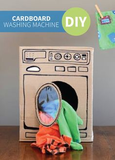 This cute DIY Recycled Cardboard Washing Machine is a great way to spend time with your kids while getting things done, and so easy to make with any box you have lying around!