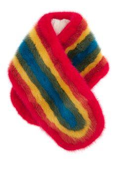 Rainbow Mink Scarf by Anya Hindmarch for Preorder on Moda Operandi