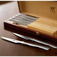 Henckels Stainless-Steel Steak Knife Set in Wood Gift Box Kitchen Knives, Kitchen Gadgets, Kitchen Stuff, Wood Gift Box, Steak Knife Set, Specialty Knives, Best Steak