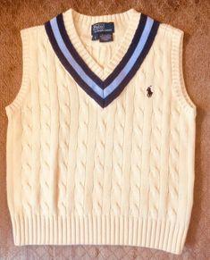 Polo Ralph Lauren Kids Boys Size 5 Cable Knit V Neck Sweater Vest Yellow Ebay