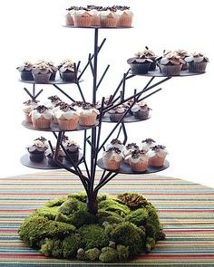 Mossy cupcake stand!