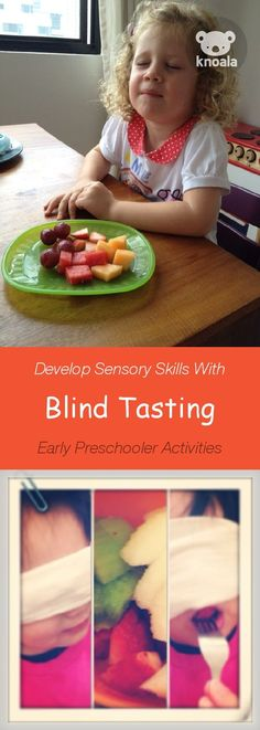 Knoala Early Preschooler activity 'Blind Tasting' helps little ones develop Sensory skills. Click for simple instructions & 1000s more fun, easy, no-prep activities for kids ages 0-5! #kidsactivities #DIY #Knoala