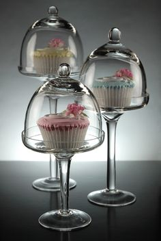 Set of Bell Jars Glass Dessert Stands With Domes (Set of 3) $20.. how cute are these!?!!