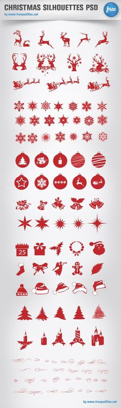 Free Christmas silhouettes pack containing more than 100 icons! That's an impressive set that will surely come in handy for your Christmas designs. Download the PSD file for free! Continue reading →: