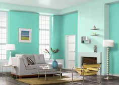 This is the project I created on Behr.com. I used these colours: GREEN PARAKEET(P430-3),SUMMER HOUSE(P430-1),SNOWBOUND(M430-1),