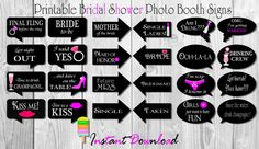 Bridal Shower Photo Booth Signs – Photobooth Props – DIY Printable Bridal Shower – Bachelorette Party Photo Booth Props – Instant Download